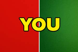 """A red stock photo is on the left with a green stock photo on the right labeled, """"YOU"""""""
