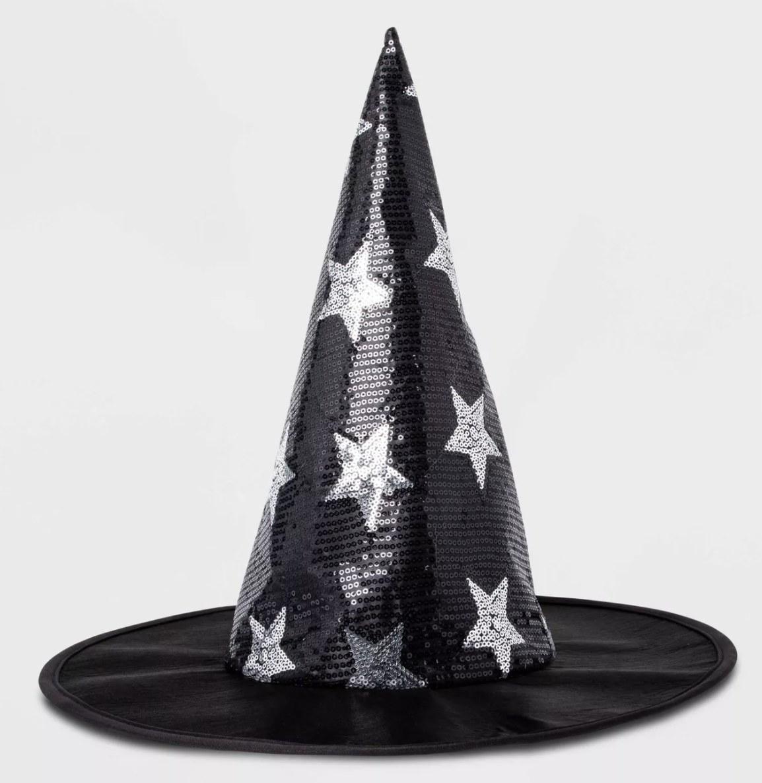 Black sequin witch hat