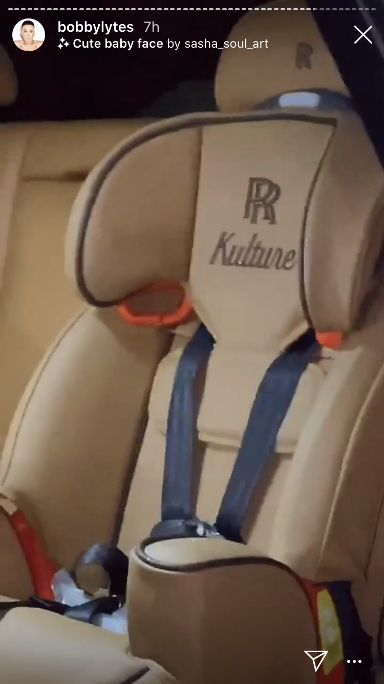 "A Rolls-Royce car seat that says ""Kulture"" at the top"