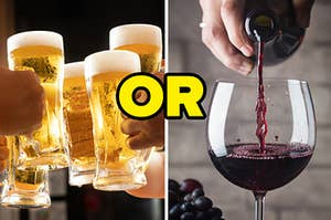 """A bunch of cups are full of beer on the left with """"or"""" in the center and wine being poured into a cup on the right"""