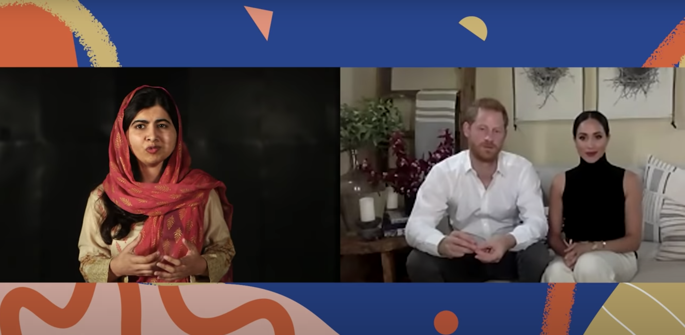 Malala talking and Harry and Meghan listening on a virtual call