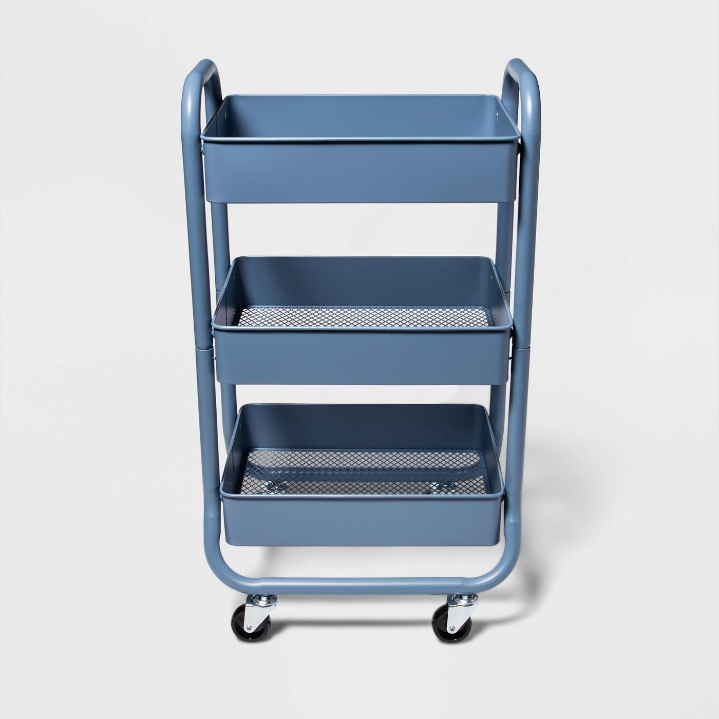 The cart in blue, with three tiers with solid sides and mesh bottoms, and four wheels