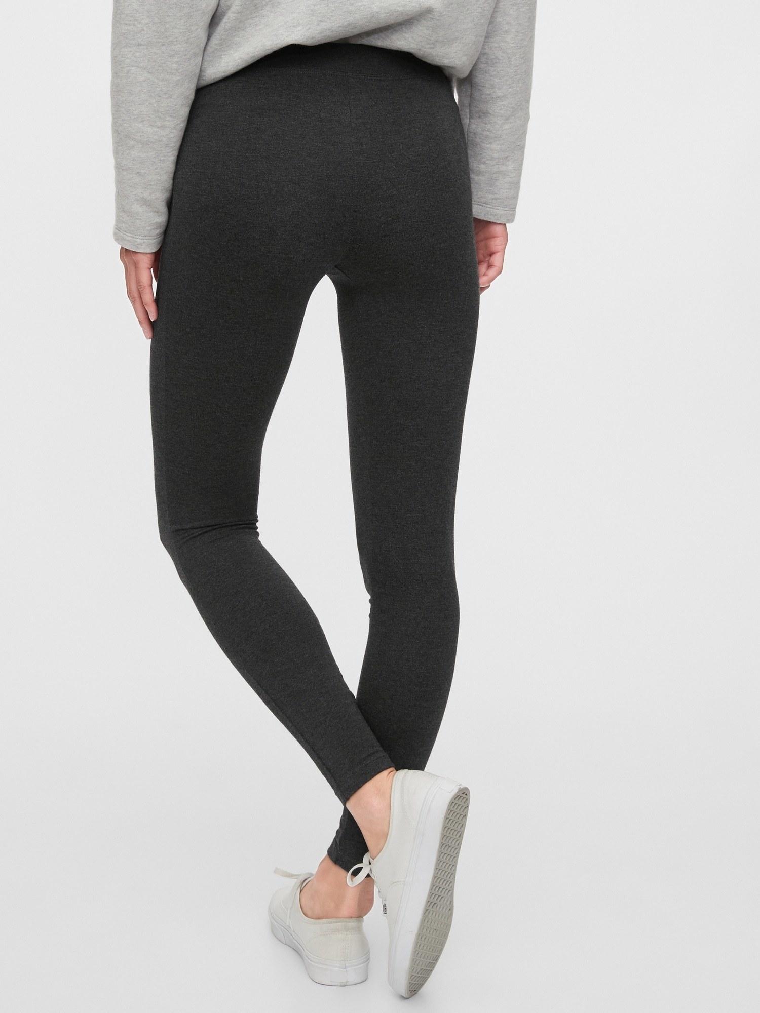 The leggings in charcoal grey