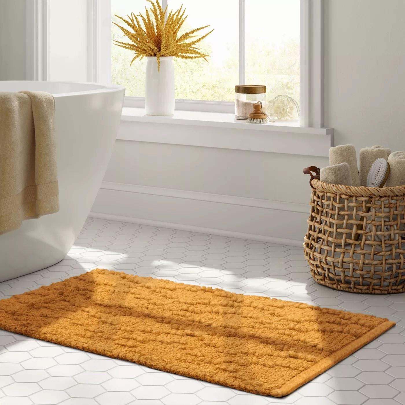 The rug on a tile floor