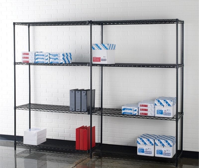 The wire shelves in use