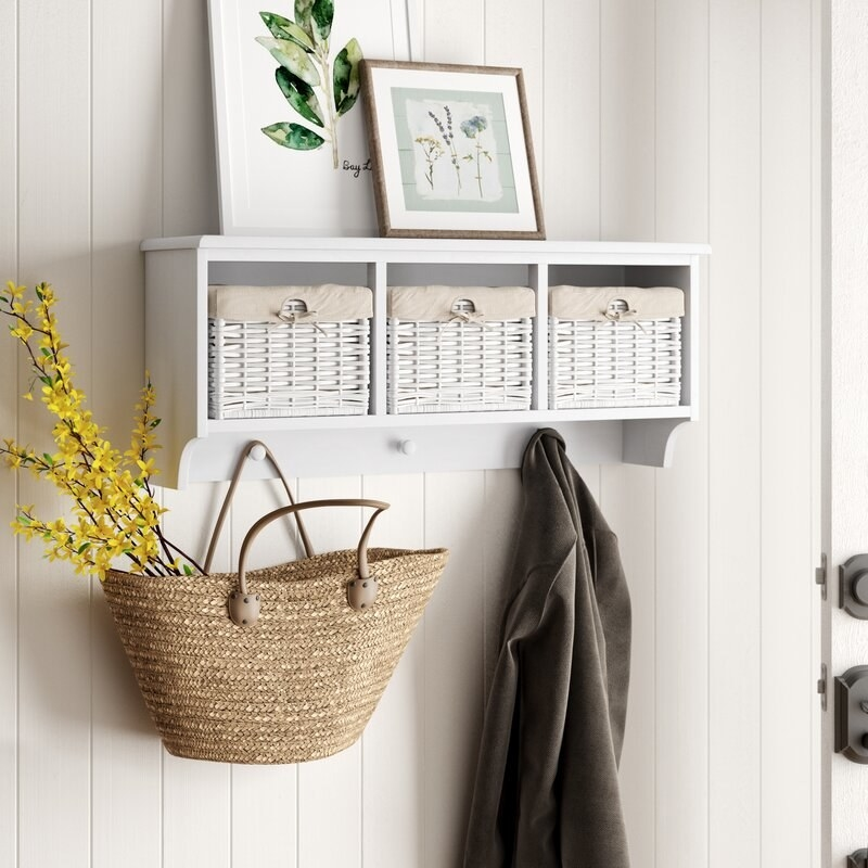 The floating shelf in use