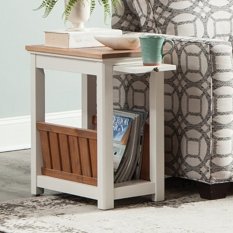 The end table in use