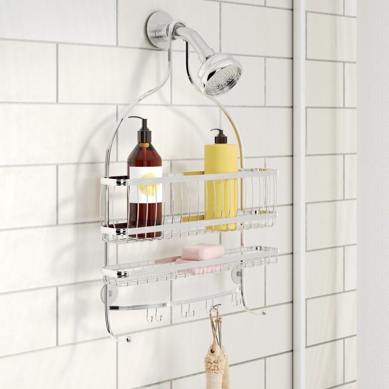 The shower caddy soap and shampoo