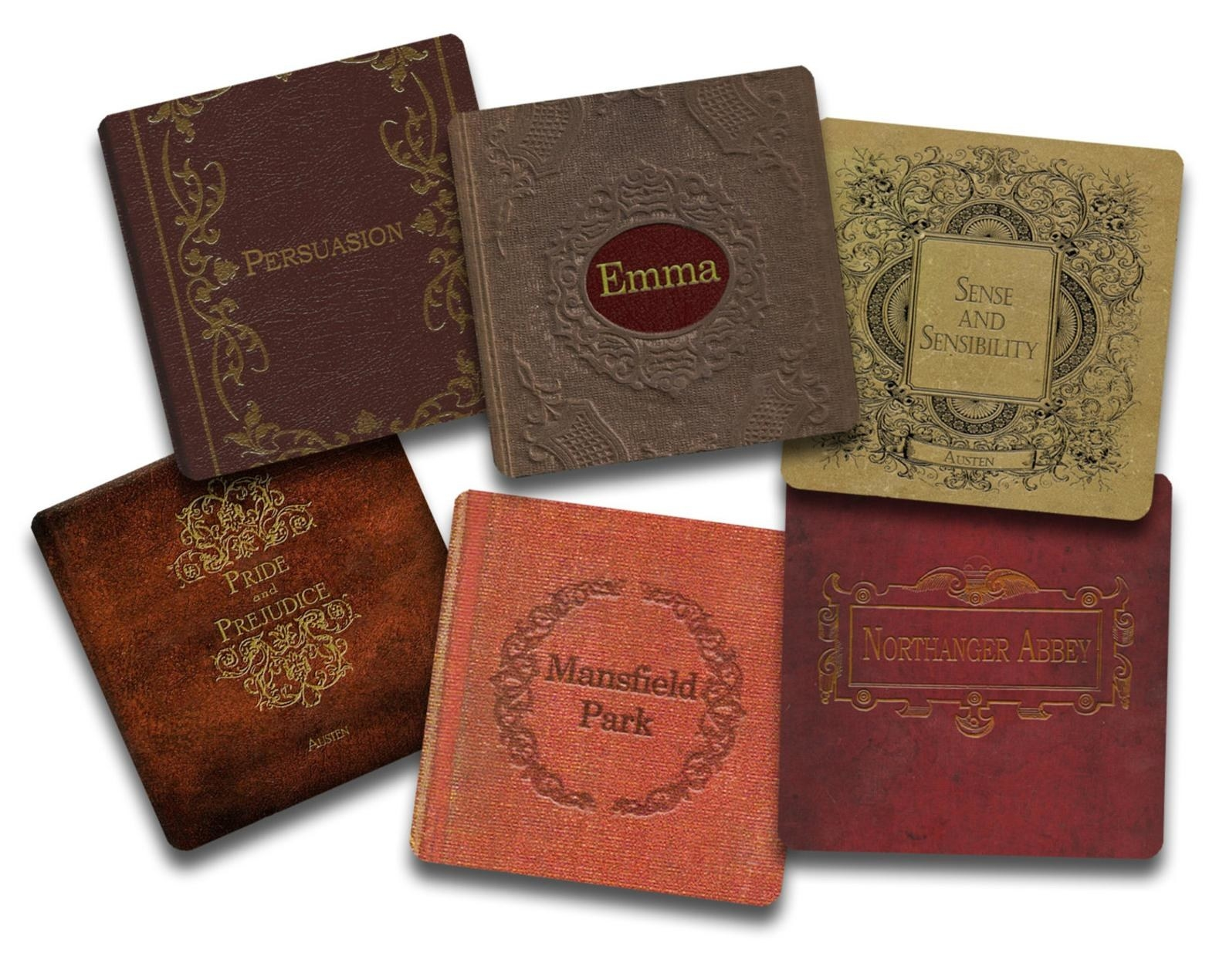 Six coasters in shades of brown and red with small designs with the titles Persuasion, Emma, Sense and Sensibility, Pride and Prejudice, Mansfield Park, and Northanger Abbey on them.