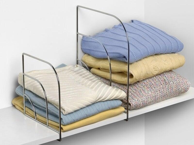 The shelf dividers in closet