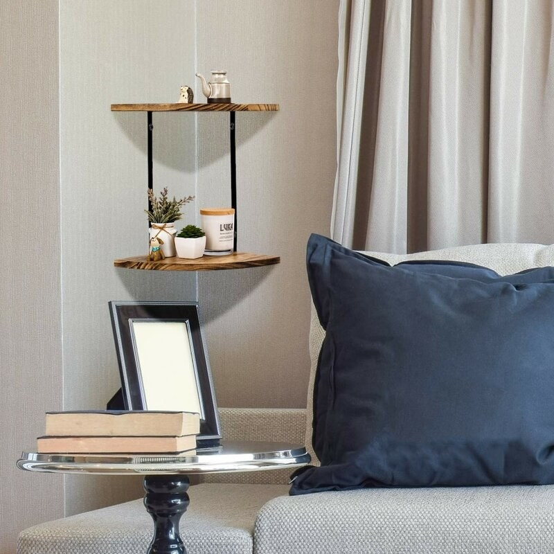 The corner shelf in a living room