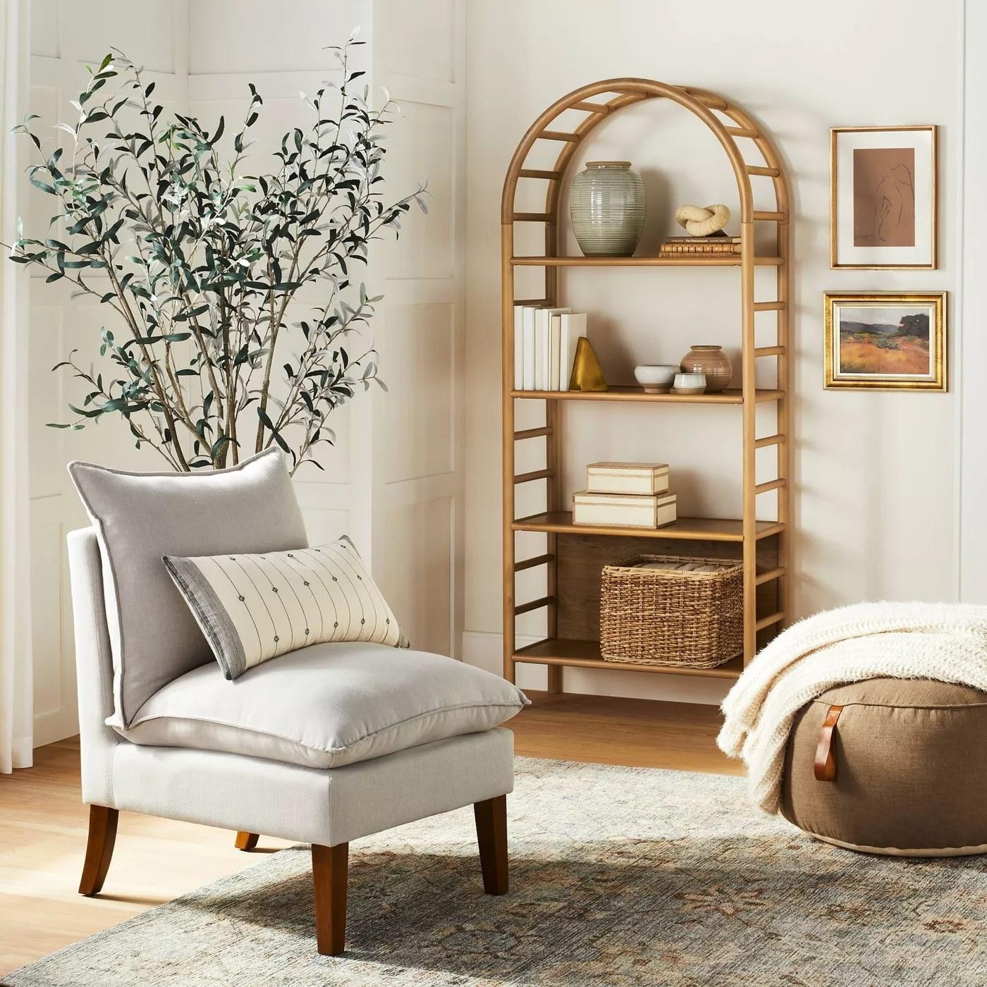 The bookshelf in a living room