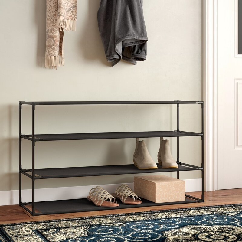 The shoe rack in use