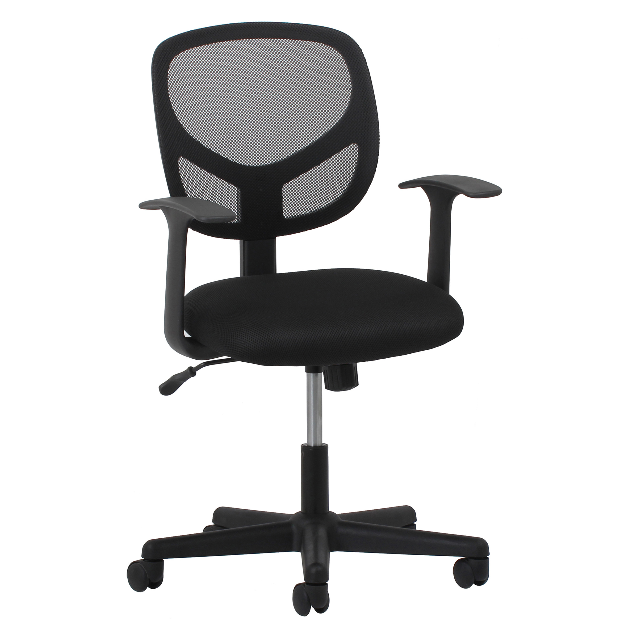 Black mesh back office chair with wheels
