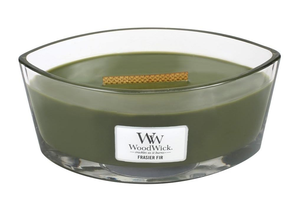 Green Frasier Fir WoodWick candle with wooden wick in the center