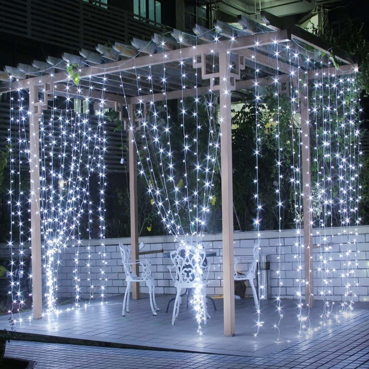 The light curtain being used to artistically decorate a gazebo.