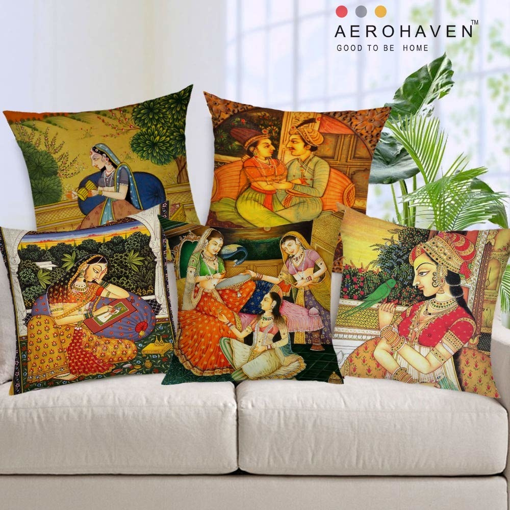 A set of cushion covers on a sofa