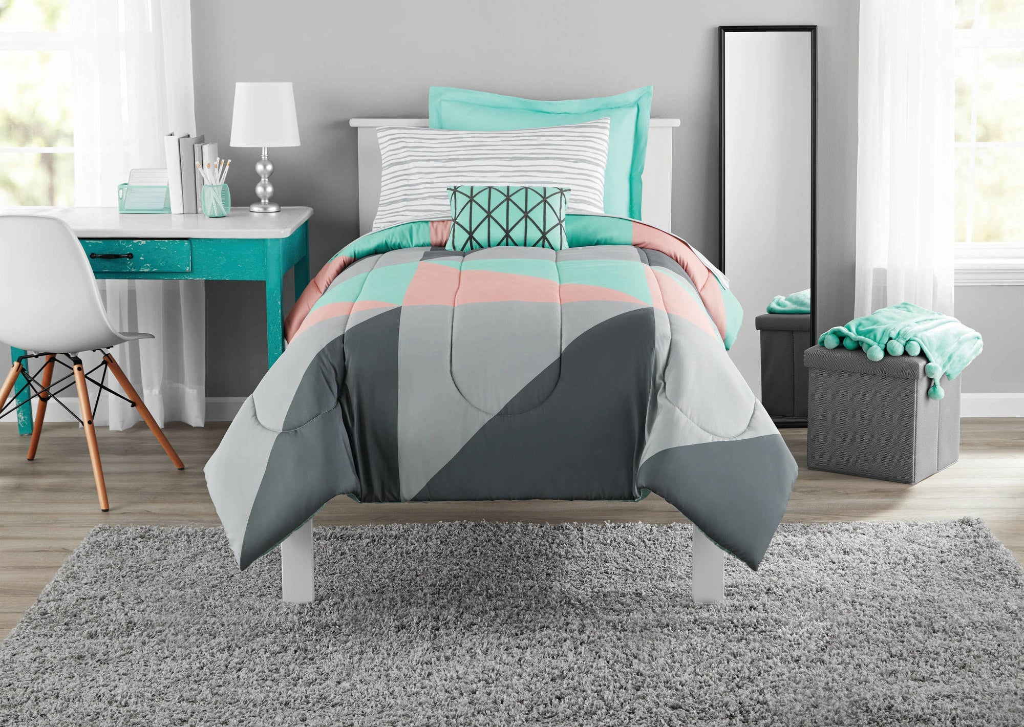 Gray, teal and pink bed in a bag set