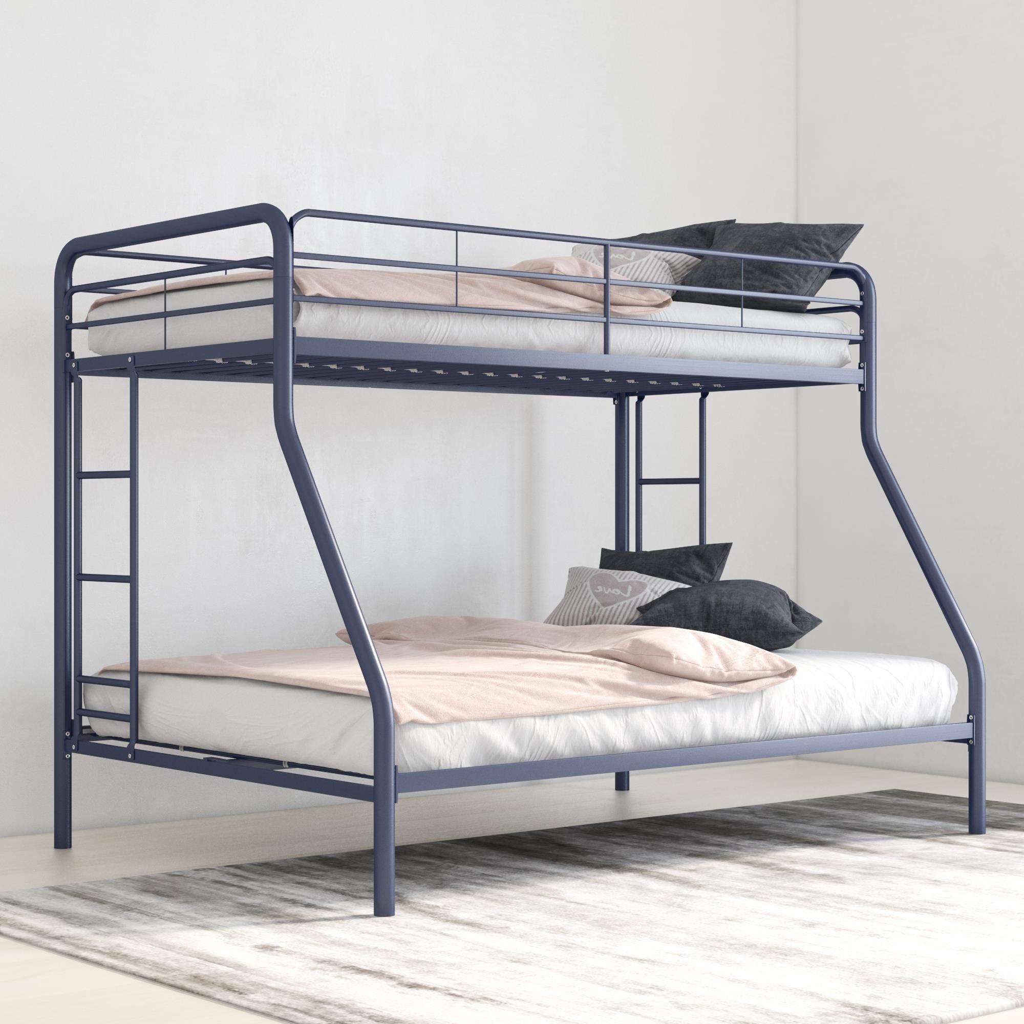 Blue metal bunk bed frame