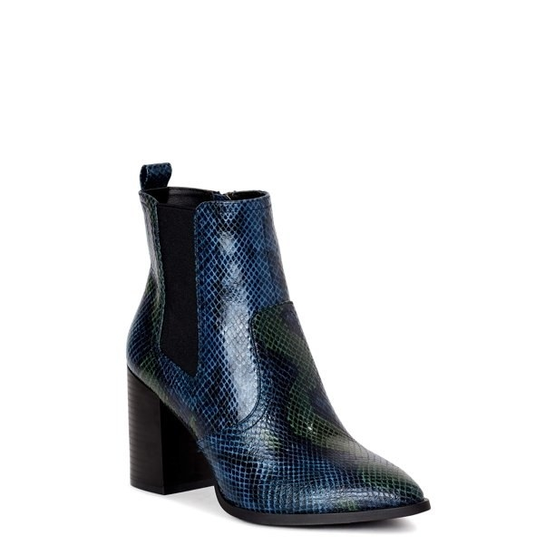 Blue and green snakeskin chelsea boots with heels