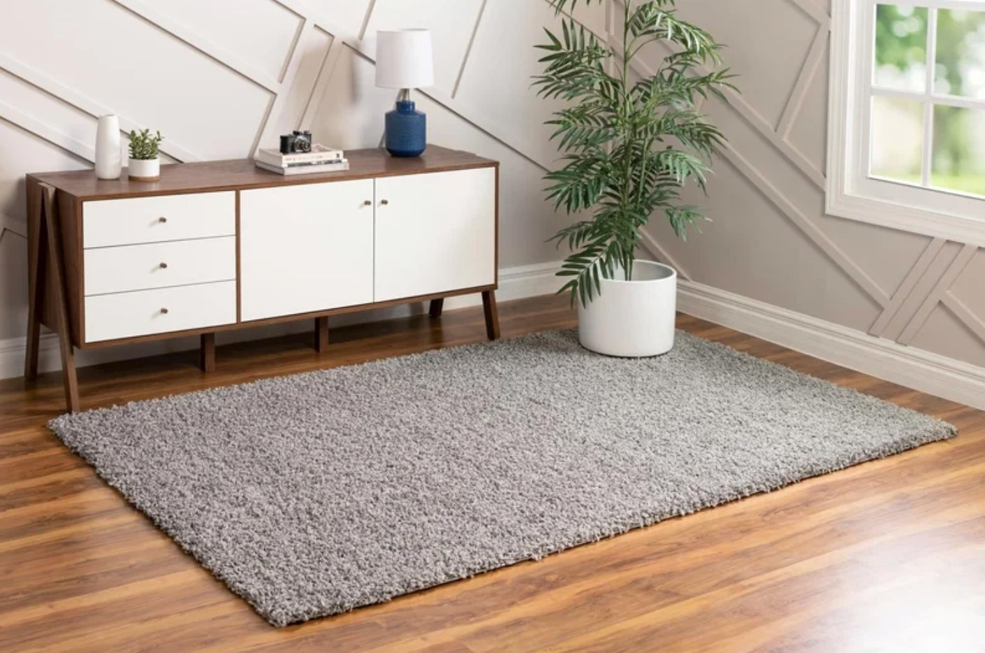 The Mariposa area rug in cloud gray