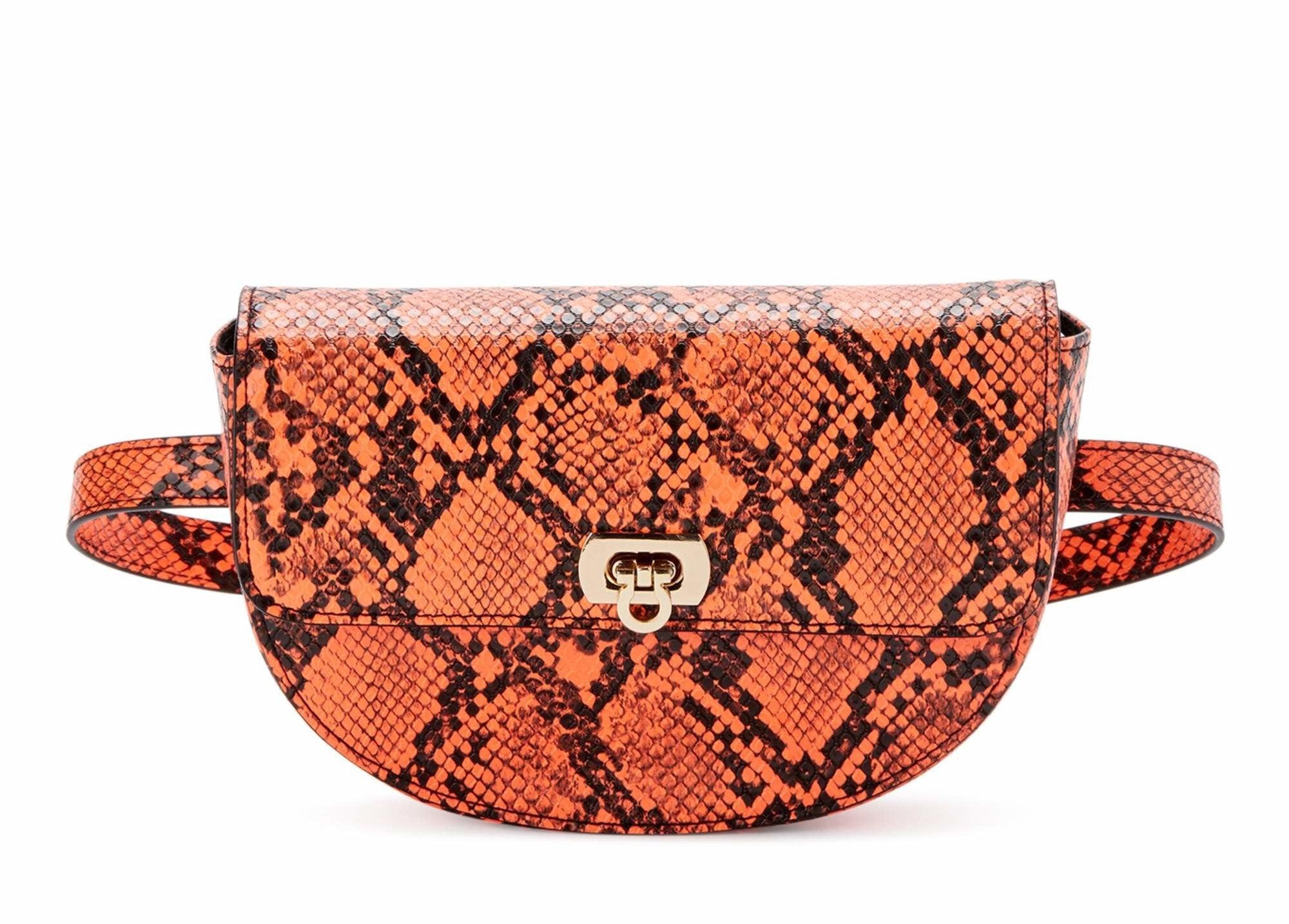 orange faux snake skin belt bag