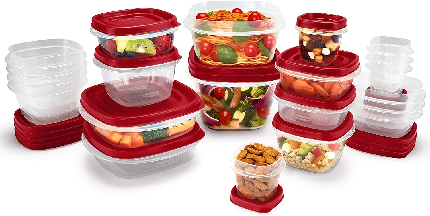 Clear tupperware with red lids in various sizes