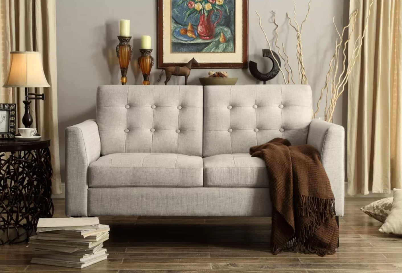 The tuxedo arm loveseat in beige