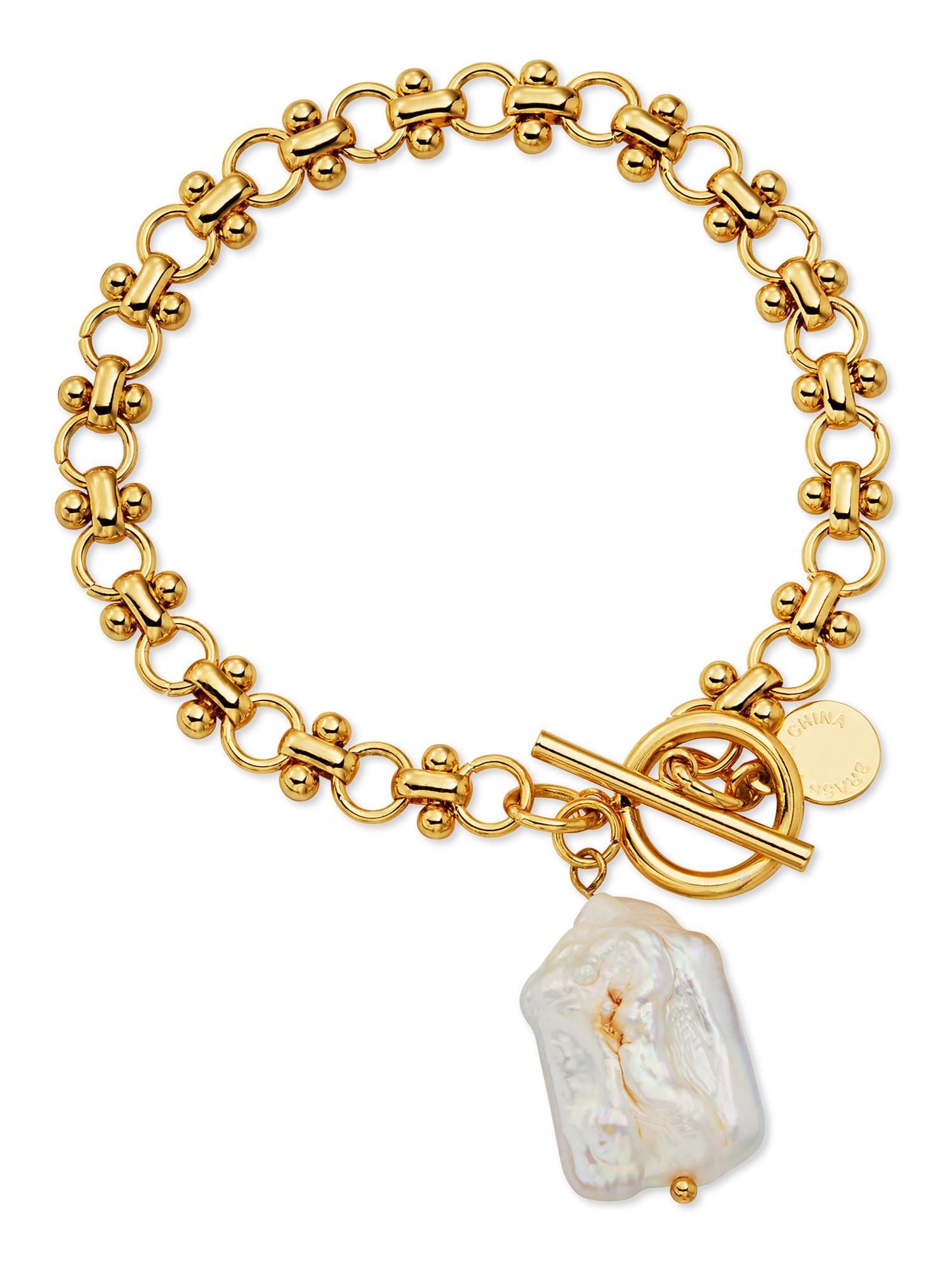 gold-plated pearl link bracelet