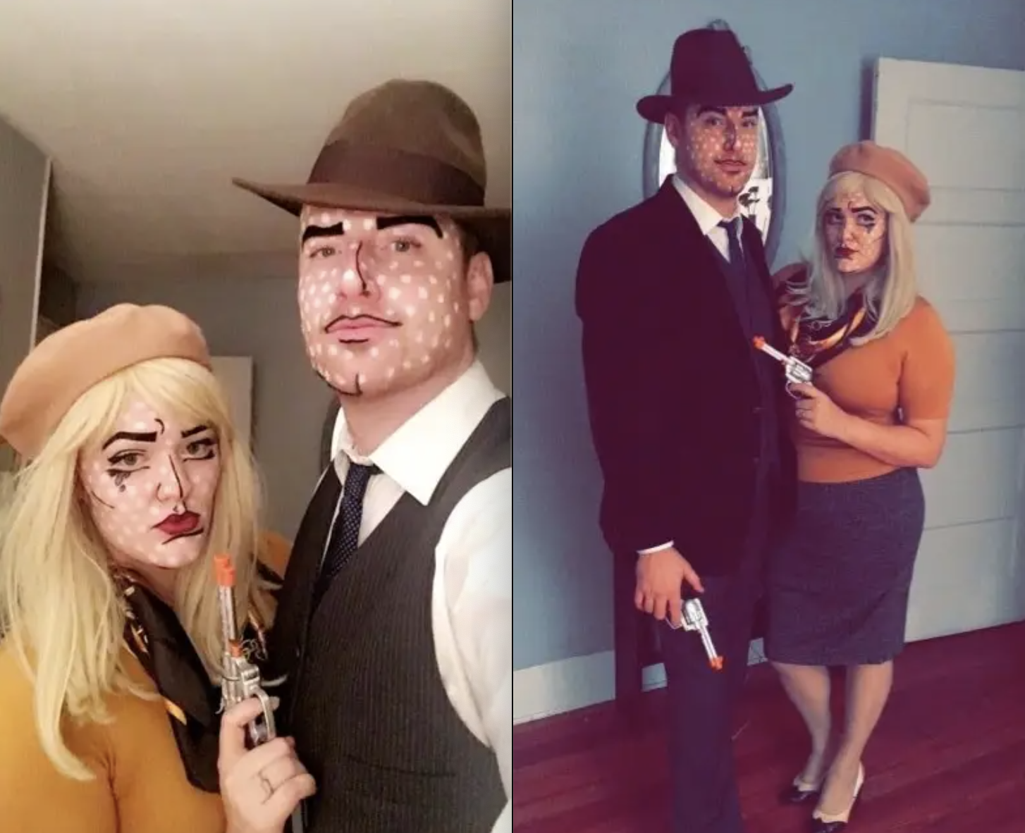 A couple dressed as Bonnie and Clyde, but with makeup over their faces so it looks like they're pop art caricatures