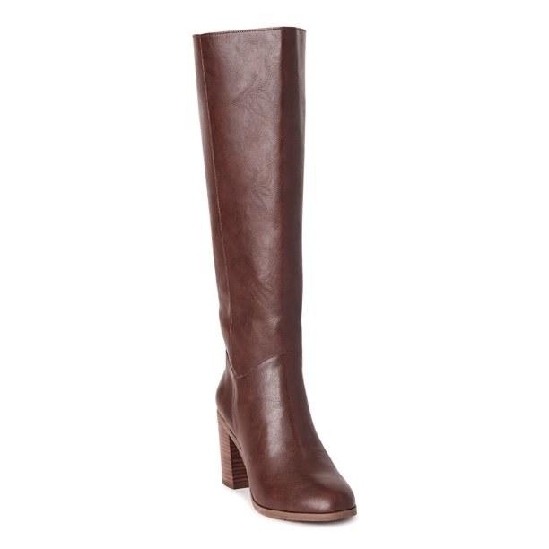 vegan leather knee high block heeled boots