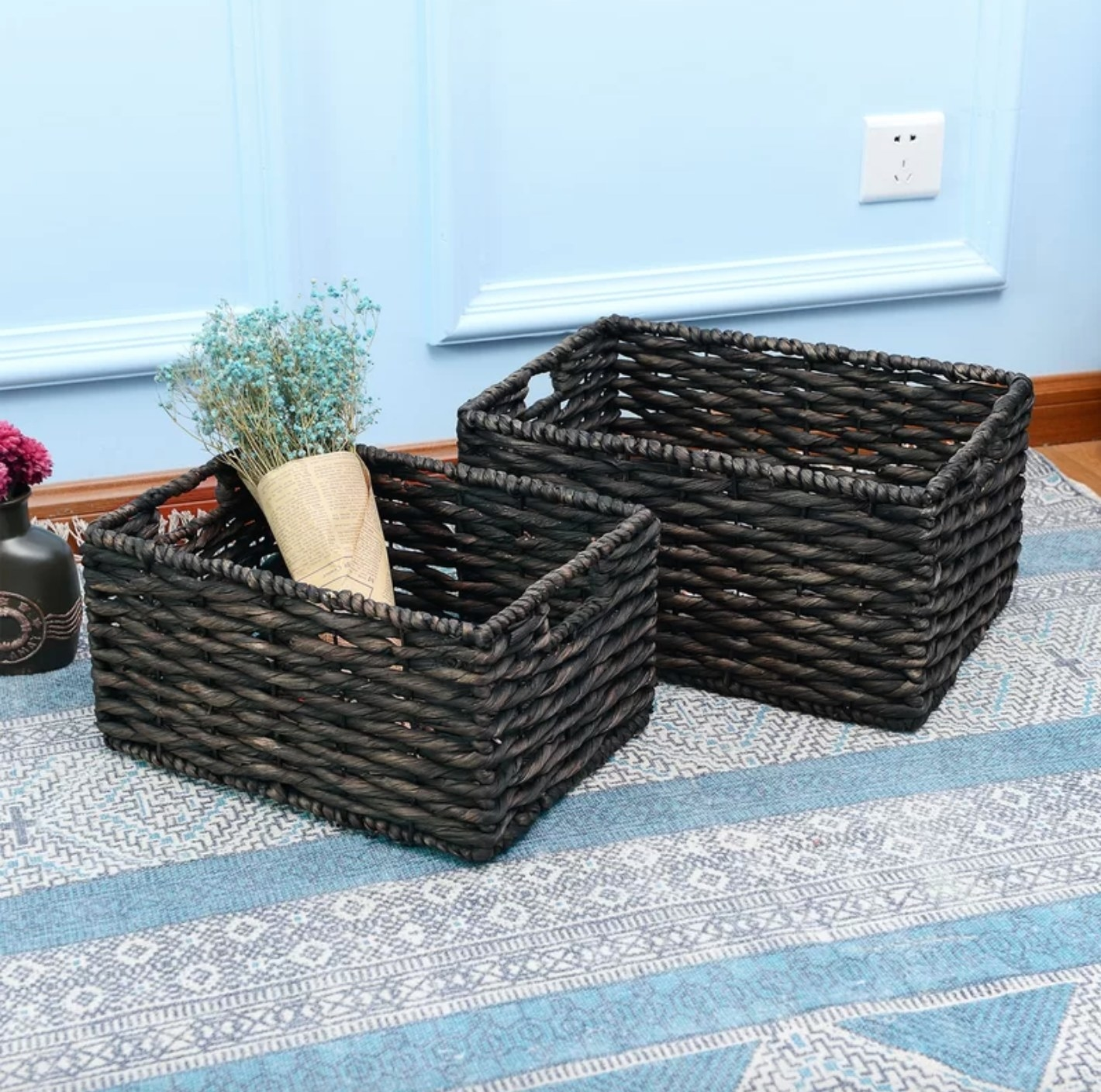 the brown wicker baskets