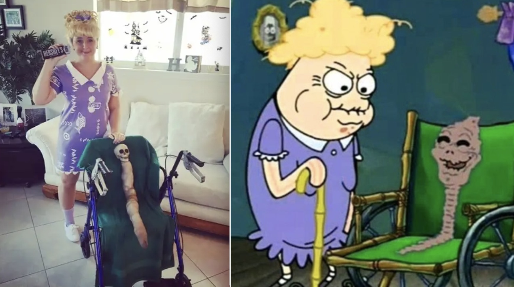 "A woman dressed as Chocolate Lady from ""SpongeBob,"" pushing her ""mom"" (a limbless skeleton) in a wheelchair"
