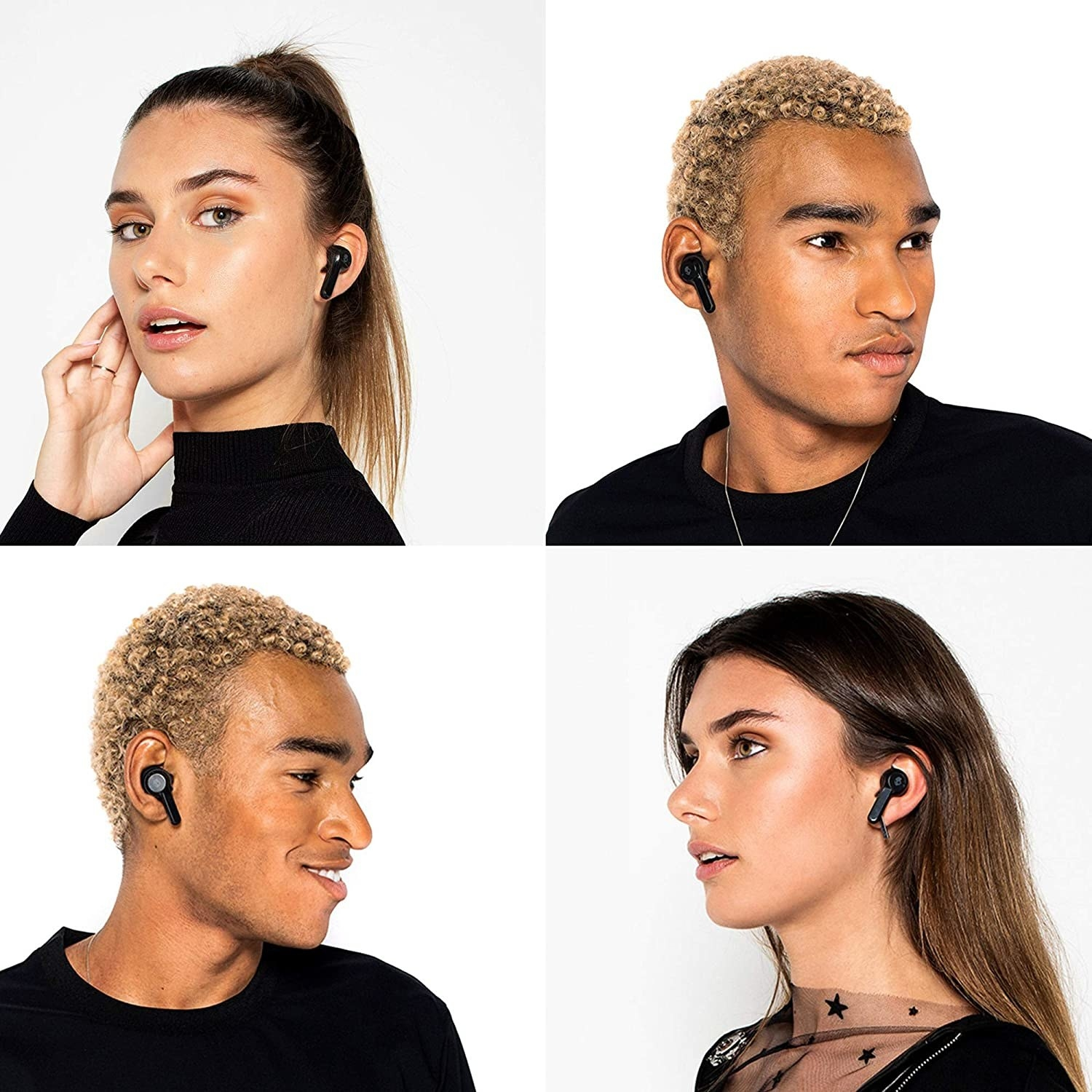 Four models with the black earbuds in their ears