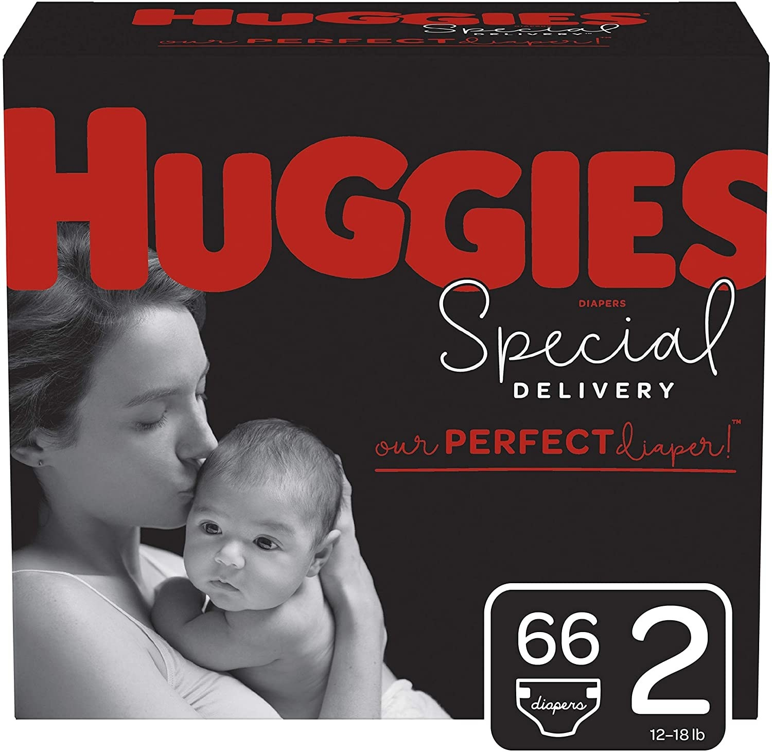 A box of Huggies diapers in a 66 pack