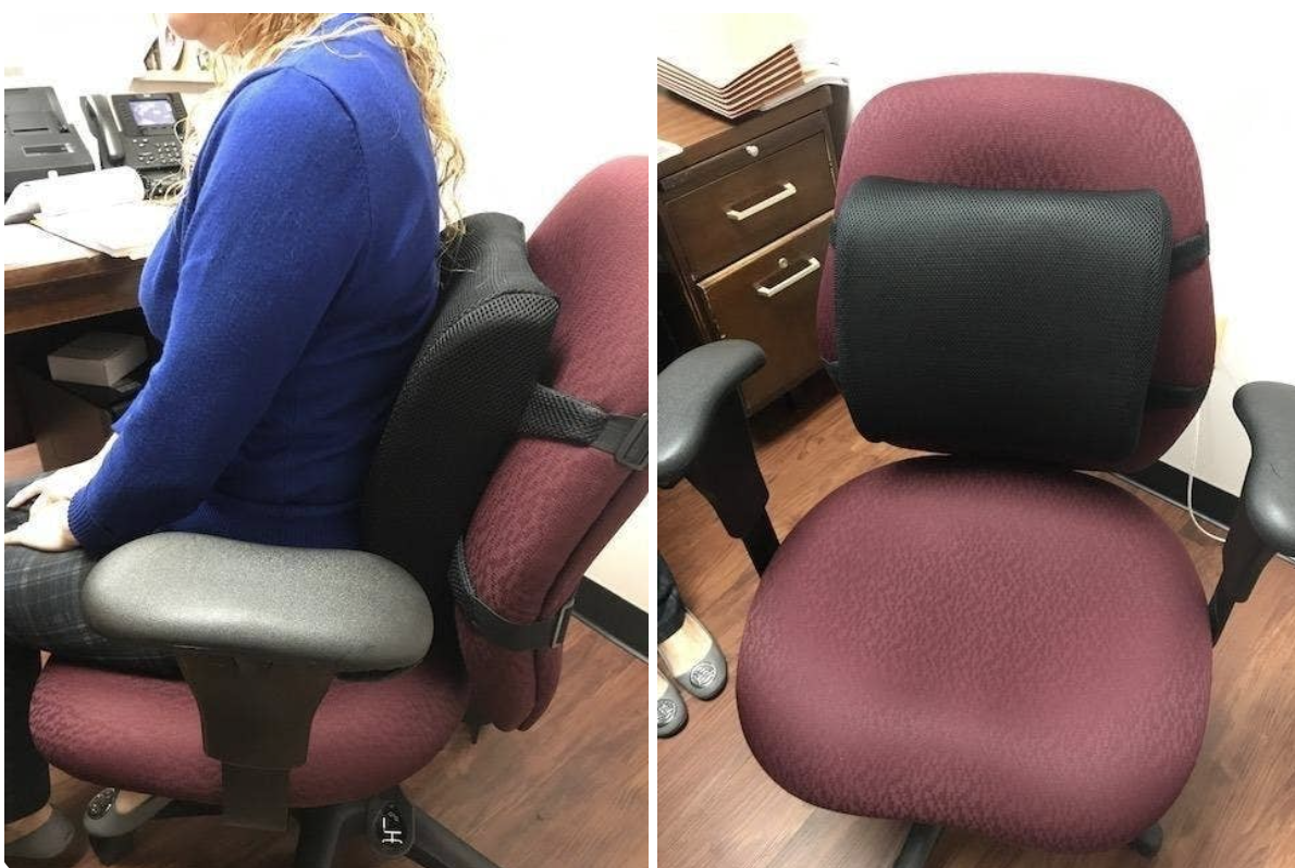 A back cushion that attaches to your desk chair, available on Amazon.