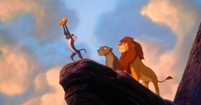 "The iconic scene in ""Lion King"" when Rafiki holds up baby Simba in front of the whole kingdom"