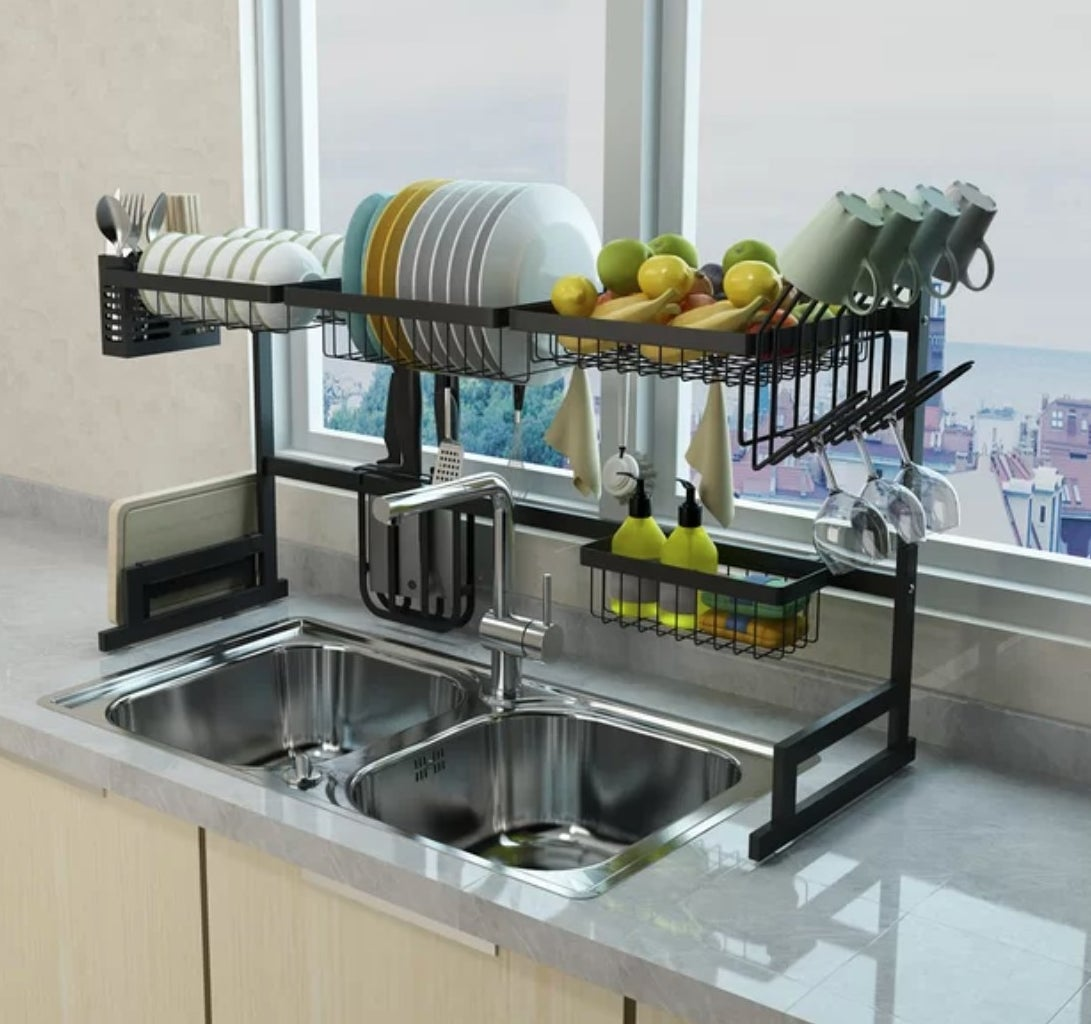 The two-tier dish rack in stainless steel black