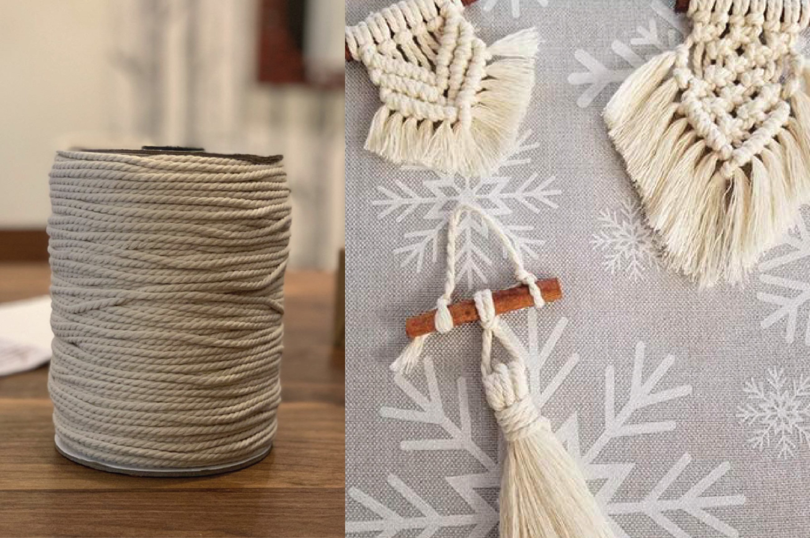 The roll of macrame rope with examples of designs