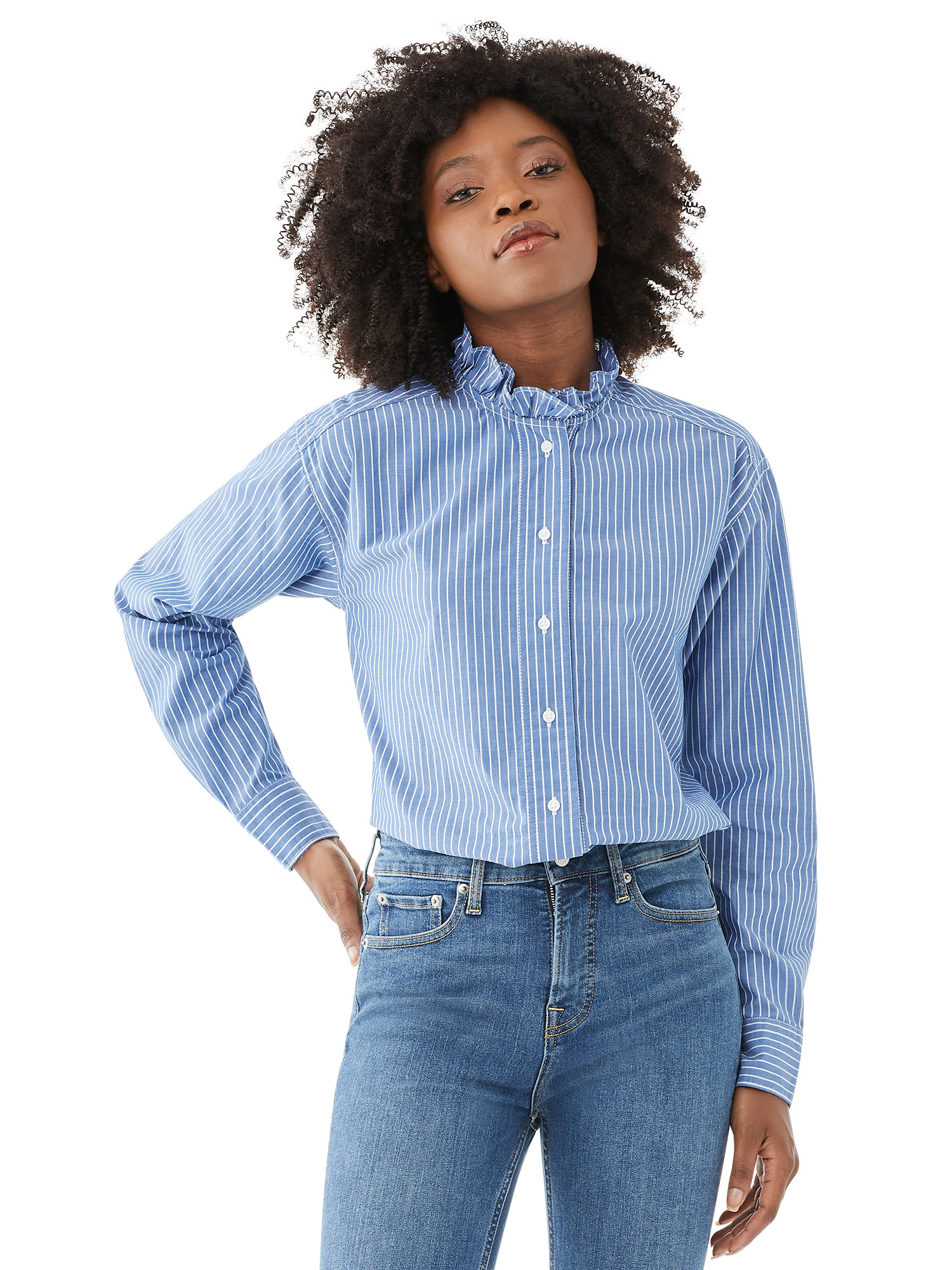 Model in blue and white striped shirt with ruffled collard