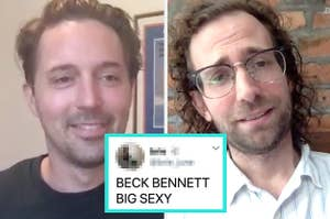 SNL's Kyle Mooney and Beck Bennett with a tweet that says