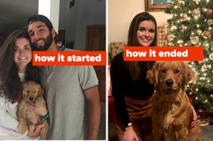 How it started vs. how it ended meme showing a woman left her husband