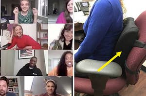 Colleagues on a Zoom call next to a foam back pillow attached to a desk chair
