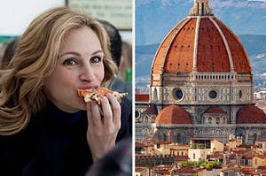 Julia Roberts eating a slice of pizza on the left and the Duomo in Florence on the right