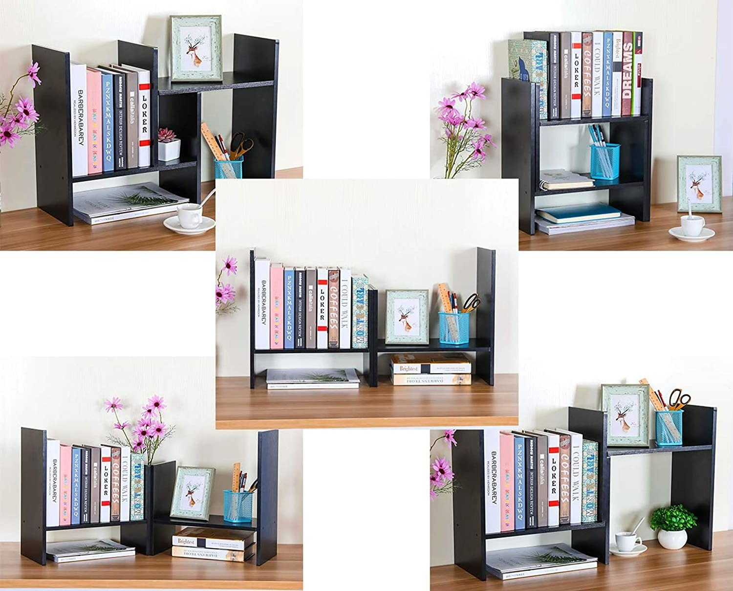 A diagram featuring five configurations of the bookshelf with office items