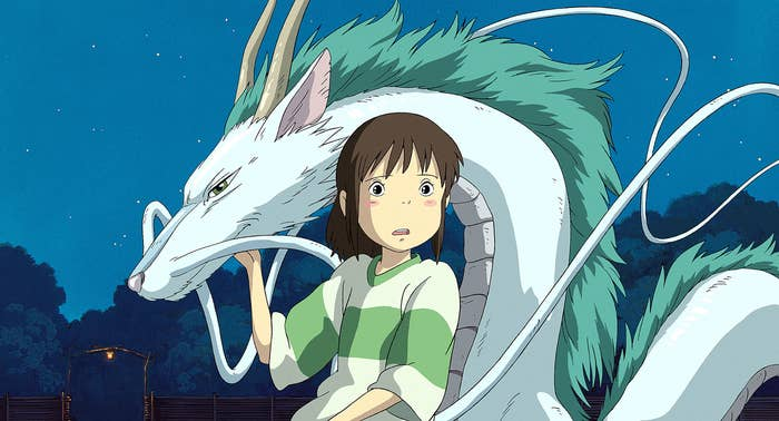 "Chihiro and Haku in dragon form from ""Spirited Away"""