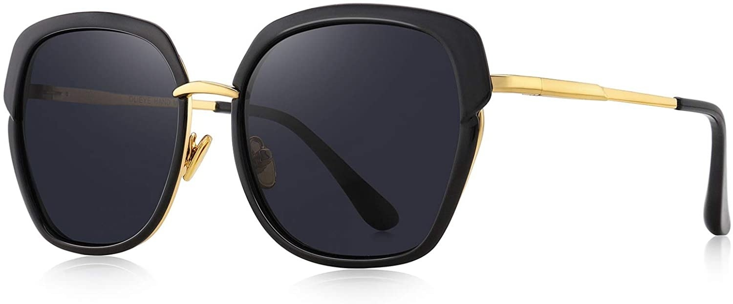 The black oversized, rounded cat eye sunnies with gold accents
