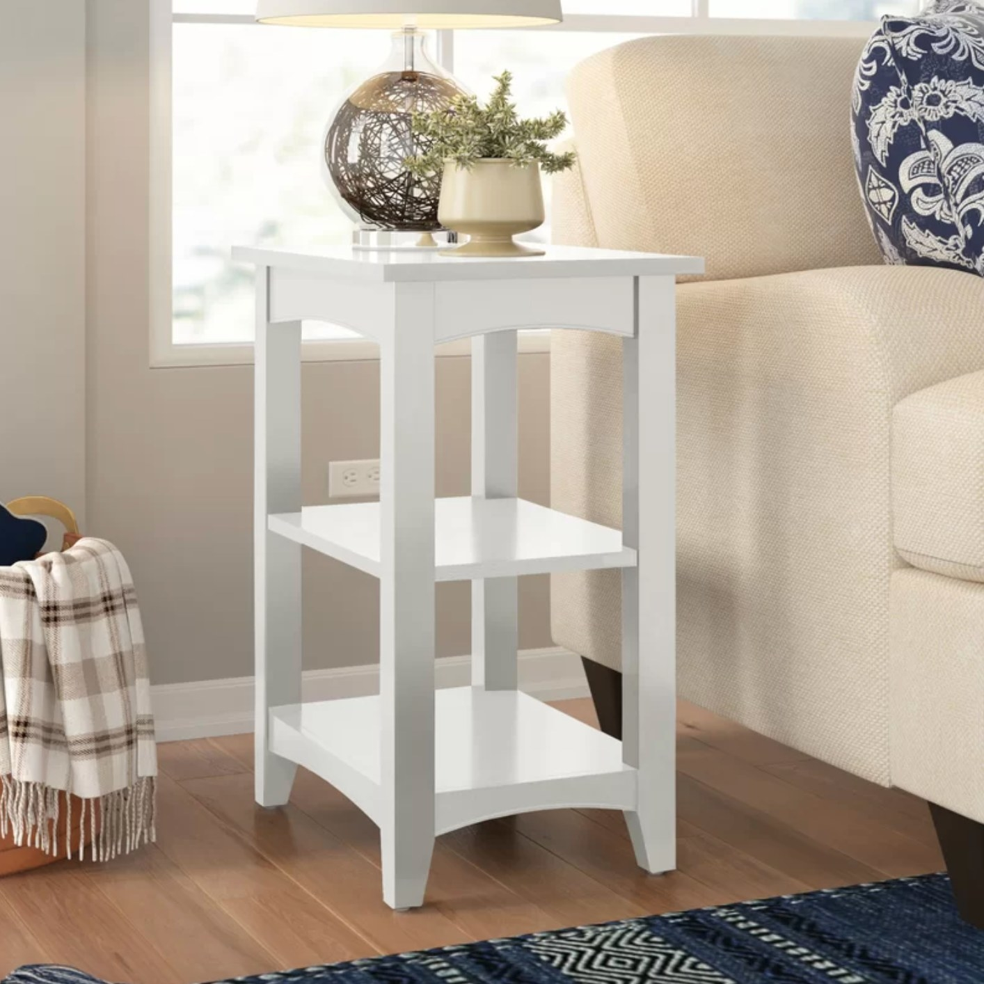 The end table with storage in white