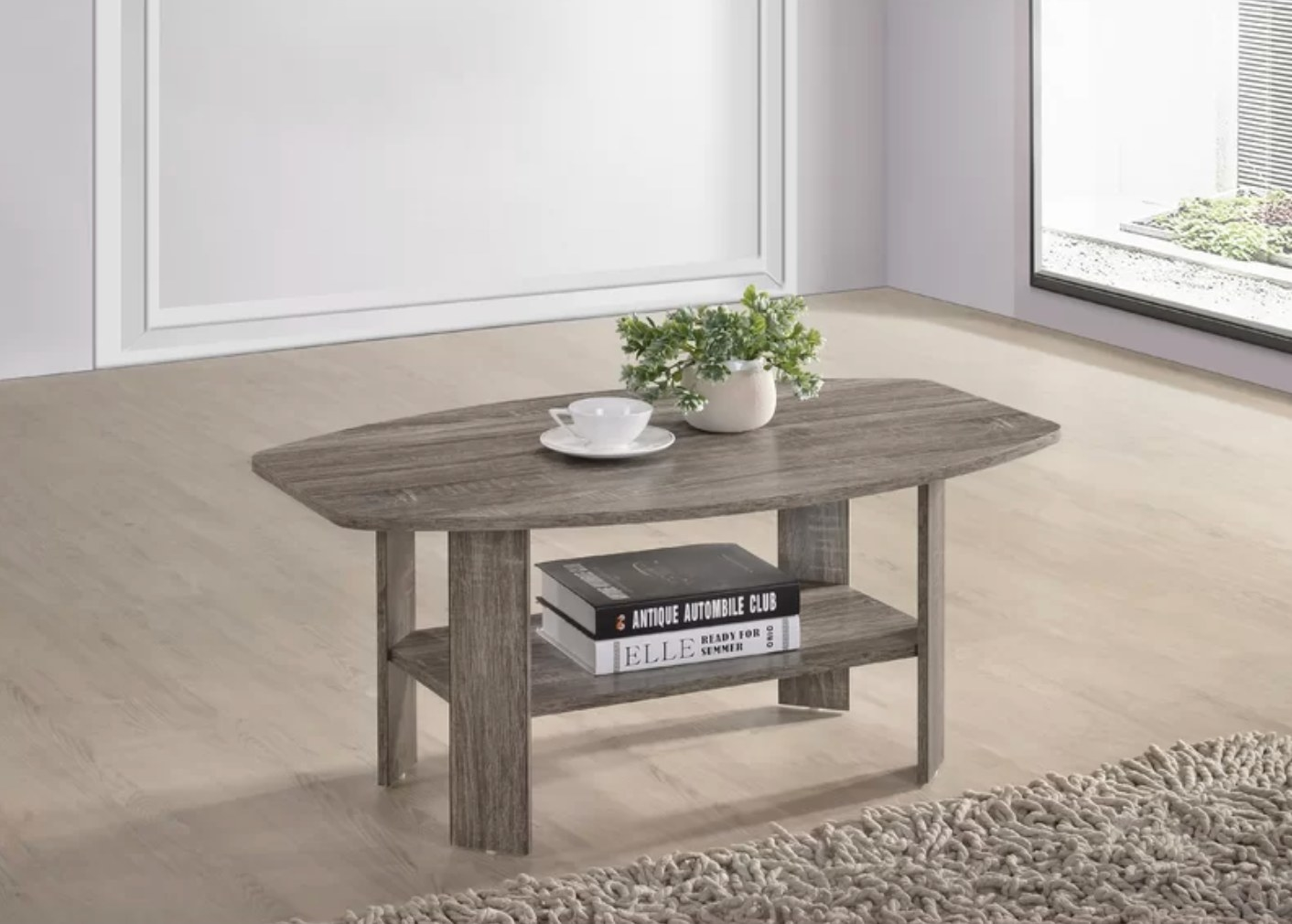 The wood coffee table with storage in a rustic color