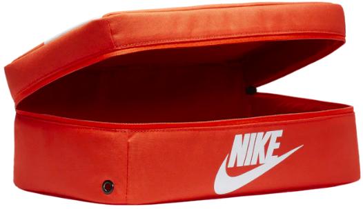 Orange shoebox sized bag with Nike logo